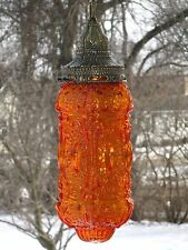 Vintage 1970's NEMO Orange Glass Cylinder Hanging Swag Lamp Light A