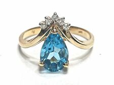 Blue Topaz Diamond Pear Shaped Womens 14KT Yellow Gold Ring Estate GV93463
