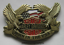 Harley Davidson Born In The USA Large Solid Brass H-701 Baron Belt Buckle