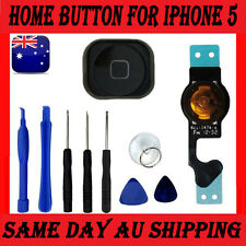 For iPhone 5 BLACK Home Button, Rubber Gasket & Ribbon Flex Cable + 8 Tools NEW