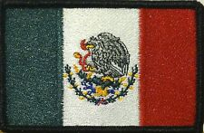 MEXICO Flag Iron-On Tactical Morale Patch ARMY MX Black Border #1