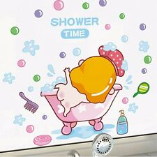 Funny Shower Time Baby Wall Sticker for Bathroom Decor | Cute Shower Room Decal