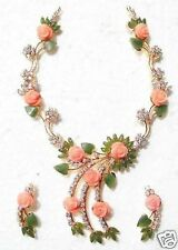CORAL FLOWER & JADE MARQUISE LEAF NECKLACE SET + A GIFT