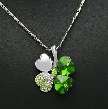 Womens 18k White Gold Plated Austrian Crystal Four Leaf Clover Heart Pendant