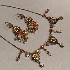 Michal Negrin Multi Color Floral Necklace and Earring Set