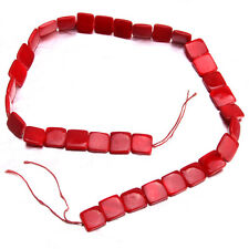 10Strings Wholesale Dark Red Square Shell Loose Spacer Beads Jewellery Crafts C