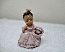 Ucagco Vintage Girl  W/Gown  Gold Trim Planter Figurine  PINK LADY Made in Japan