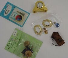 Miniature Dollhouse Lot Vintage Mantle Clock Picture Frame Telephone