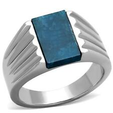 GIFTS FOR MEN Size 11 V Stainless Steel Silver Tone Capri Blue Agate Stone Ring