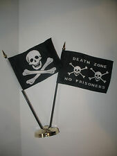 """Jolly Roger No Patch Skull w/ Death Zone Pirate Flag 4""""x6"""" Desk Set Gold Base"""