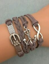 Hot Palm Anghor Bracelet Metal Charm Wax Ord Leather Bracelet