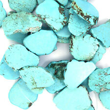 "30-38mm blue turquoise freeform slab beads 8"" strand"