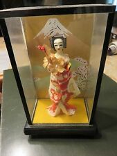 Vintage Small Japanese Geisha Doll In Display Case Mount Fuji Background Japan B