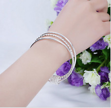 lots 925 solid Silver 3pcs/set cut link women's charms bracelet bangle bangle