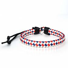 Colorful Braided Leather Rope Strands Surfer Bracelet Wristband for Ladies Women