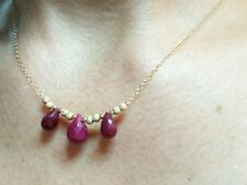 Genuine Ruby briolettes 6ctw stardust beads solid 14k gold necklace pendant