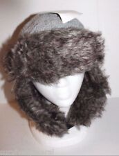 Grey Knit Women's Winter Bomber Trapper Aviator Faux Fur Cold Weather Warm Hat