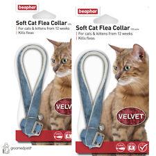 2 x Beaphar Soft Cat & Kitten Flea Collar - Blue, Velvet