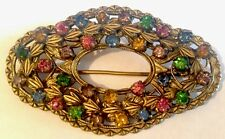 Vintage Czech Gold Tone Coloured Multi Gem Paste Brooch / Pin