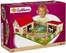 Eichhorn Wooden Toy Farm Set 25-Piece Multi-Colour Base Board Houses Figures