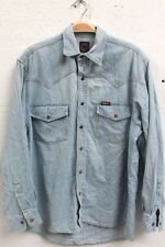 "Vintage 90s EASY Jeans Pale Blue Denim Shirt Size S-M 38"" Popper Buttons Retro"