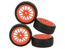 4x RC 1/10 Car On Road 14 Spoke Wheel Rim & Rubber Tyre Drive Hex 12 mm