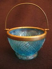 VICTORIAN BLUE GLASS BOWL with EPNS RIM & SWING HANDLE DAVIDSON? c.1880's EX