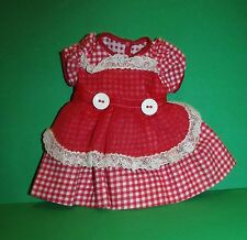 "Rare Arranbee R&B Nanette Red Organdy/Check Dress for 14"" Doll Crisp & Mint!"