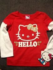 Hello Kitty  long sleeve t shirt Baby Girl 18M Red & White Holly NWT NEW