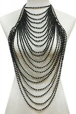 "16"" gold black pearl choker necklace 1.75"" earrings collar body chain armor vest"