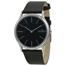 Skagen Men's 858XLSLB Ultra Slim Analog Black Dial Black Leather Watch