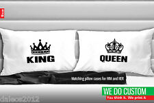His & Hers Matching Couple Pillowcases - King and Queen Pillow Covers