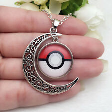 NEW Anime Pokemon Glass Hollow Moon Shape Pendant Silver Tone Necklace