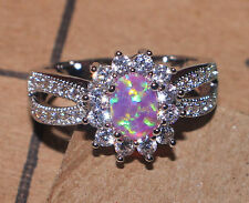 pink fire opal Cz ring gemstone silver jewelry Sz 6.75 cocktail engagement  Z812