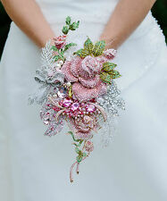 Brooch Bouquet Wedding Custom-made Pink Gold Silver Roses Brides Alternative