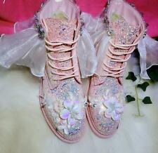 Women Sweet Sequins Bling Rhinestones Chukka Round Toe Floral Ankle Boots Shoes