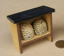 1:12 Scale 2 Wicker Bee Hive In A Wooden Stand Dolls House Miniature Accessory