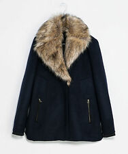 Authentic!!!  Size S - ZARA COAT WITH FUR COLLAR FURRY PARKA JACKET BLAZER
