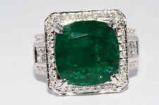 $26,400 10.49Ct Natural African Emerald & Diamond 18K White Gold Ring Size 6.5