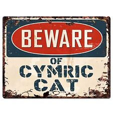 Pp1579 Beware of Cymric Cat Plate Rustic Chic Sign Home Store Decor Gift