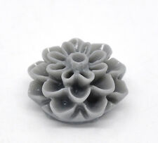 5x Resin Harz Blume grau 16x8mm NEU DIY für Ohrringe