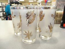 LOT 4 LIBBEY - MID CENTURY ICE TEA/DRINKING - GOLD LEAF FROSTED TUMBLERS/GLASSES