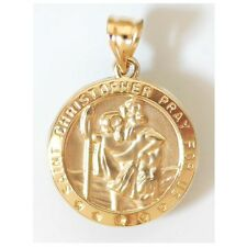 "14K Solid Yellow Gold Saint Christopher Pendant Length: 1"" (25 mm) C-1008-63"