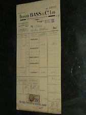 Facture Brasserie BASS Paris Vin Bière 1928 Publicité brochure old paper bistrot