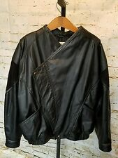 Vintage VALENTINO FELLINI ITALY RARE 1980s Oversized Black Leather Jacket COAT