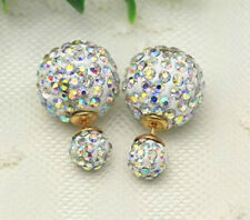 LARGE SHAMBALLA  AB CRYSTAL BALL DOUBLE STUD EARRINGS 16MM