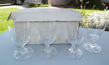"""SET OF FOUR (4) LALIQUE VALENCAY BORDEAU WINE GLASSES WITH BOX 5"""" TALL"""
