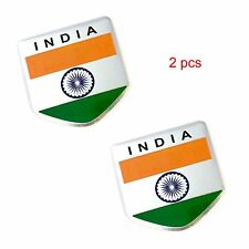 S2S 2 Pcs India Flag 3D Metal Chrome Sticker Emblem Badge Logo for Car & Bike