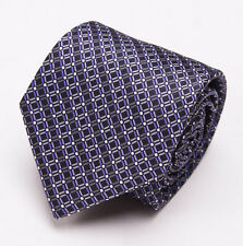 NWT $230 BRIONI Slim Satin Silk Tie Black-Purple Geometric Interlock Print