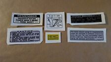 Honda SL125 Autocollants / Stickers / Decals : Information - Warning